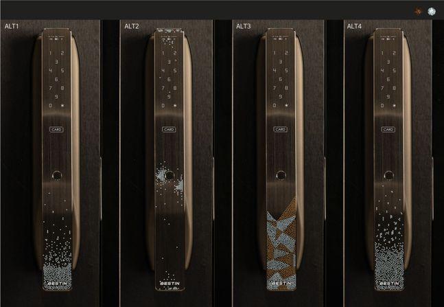 세계적인 브랜드 스와로브스키의 크리스탈이 장식된 '베스틴 도어락 IDL-300 스페셜 에디션' 모습.ⓒHDC아이콘트롤스