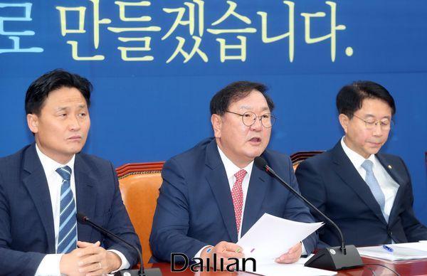 김태년 더불어민주당 원내대표가 2일 오전 국회에서 열린 정책조정회의에서 발언하고 있다. ⓒ데일리안 박항구 기자