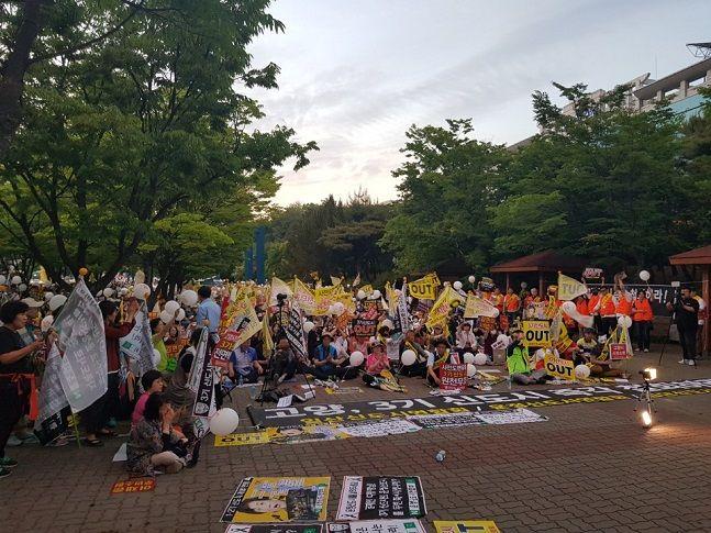 지난해 5월 3기 신도시 철회를 촉구하는 일산‧운정신도시 연합회 소속 주민들이 집회를 여는 모습.ⓒ뉴시스