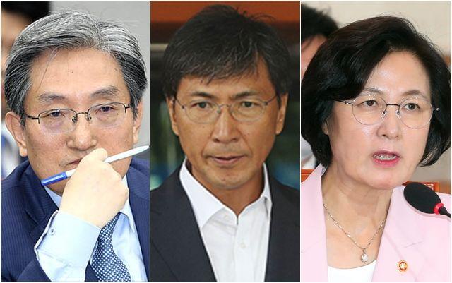 (왼쪽부터) 노영민 대통령 비서실장, 안희정 전 충남지사, 추미애 법무부 장관. ⓒ데일리안 박항구·홍금표 기자