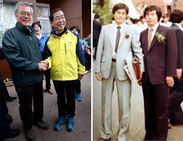 왼쪽 사진은 2014년 12일 오전 남산을 오르기 전 서울 동대입구역 앞에서 만나 악수하는 문재인 대통령과 박원순 서울시장의 모습. 오른쪽 사진은 지난 1983년 사법연수원 수료식 당시 두 사람이 함께 찍은 사진. ⓒ뉴시스, 박원순 시장 페이스북