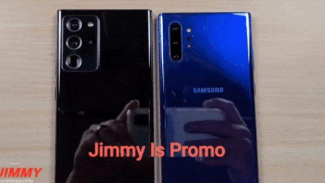 삼성전자 스마트폰 '갤럭시노트20 플러스'(왼쪽)와 '갤럭시노트10 플러스'. 지미이즈프로모 유튜브 캡처