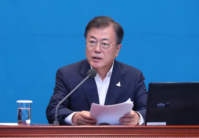 문재인 대통령이 20일 청와대 여민관에서 열린 수석보좌관회의에 참석해 발언하고 있다. ⓒ뉴시스