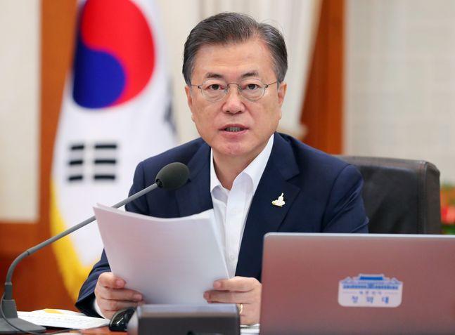 문재인 대통령이 21일 청와대 본관에서 여린 국무회의에 참석해 발언하고 있다. ⓒ
