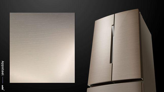 앱스틸 신제품 '어반포레스트'가 적용된 냉장고 샘플 이미지ⓒ동국제강