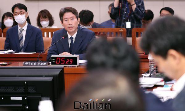 이인영 통일부 장관 후보자가 23일 국회에서 열린 인사청문회에서 의원들의 질의에 답변하고 있다. ⓒ데일리안 박항구 기자