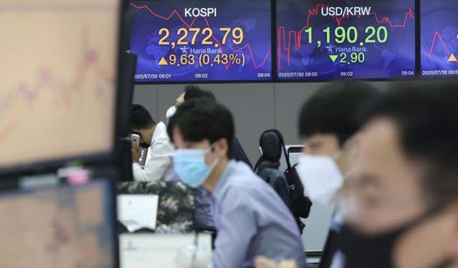 코스피가 전날보다 상승 출발한 지난달 30일 오전. 서울 중구 하나은행 본점 딜링룸에서 딜러들이 업무를 보고 있다. ⓒ연합뉴스