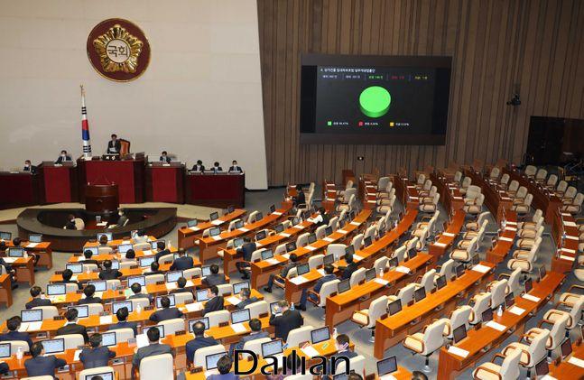 지난달 30일 오후 열린 국회 본회의에서 미래통합당 의원들이 집단 퇴장한 가운데 상가건물 임대차보호법 일부개정법률안이 가결되고 있다.ⓒ데일리안 박항구 기자