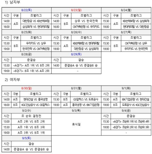 제천 컵대회 일정. ⓒ KOVO