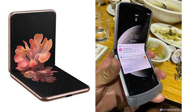 삼성전자 클램셸 폴더블 스마트폰 '갤럭시Z 플립 5G'(왼쪽)와 중국 SNS 웨이보를 통해 유출된 모토로라 폴더블폰 '레이저2'(가칭).ⓒ삼성전자·웨이보 캡처