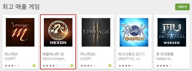 지난 23일 기준 구글 플레이 스토어 최고 매출 게임 상위 5개 게임.ⓒ넥슨