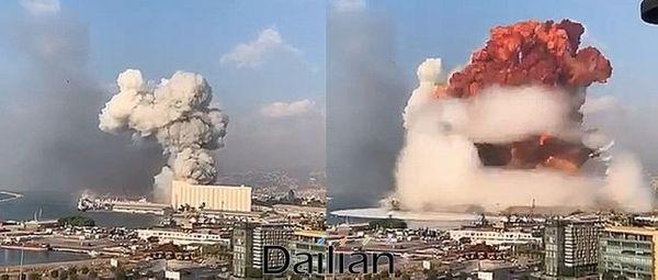 4일 레바논 베이루트 항구에서 발생한 폭발 장면. ⓒ소셜미디어 갈무리