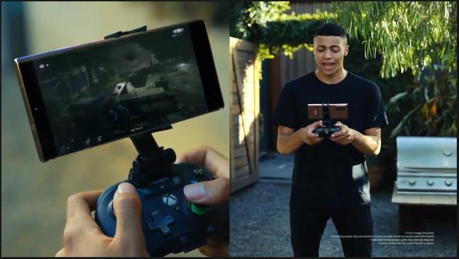 5일 온라인으로 진행된 갤럭시 언팩 2020 캡처 화면. 사진은 갤럭시노트20에 적용된 MS의 클라우드 게임 구독 서비스