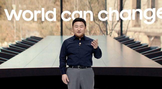노태문 삼성전자 무선사업부장 사장이 5일 온라인 '갤럭시 언팩 2020'에서 기조연설을 하고 있다. 삼성전자 유튜브 캡처