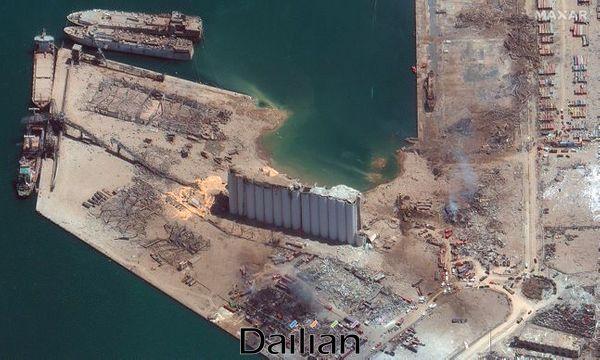 5일(현지시각) 맥사 테크놀로지스가 제공한 위성사진에 초토화된 레바논 베이루트 항구의 모습이 담겨있다. ⓒAP/뉴시스