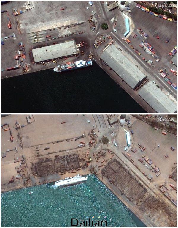 맥사 테크놀로지스가 제공한 두 장의 위성사진에 지난 7월 31일 당시 레바논 베이루트 항구의 모습(위)과 대규모 폭발 다음 날인 5일(현지시각) 초토화된 베이루트 항구의 모습이 담겨있다. ⓒAP/뉴시스