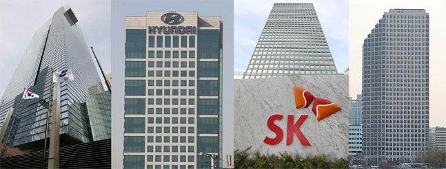 왼쪽부터 삼성 서초사옥, 현대차 양자새옥, SK 서린사옥, LG 여의도 사옥. ⓒ데일리안 홍금표/류영주 기자