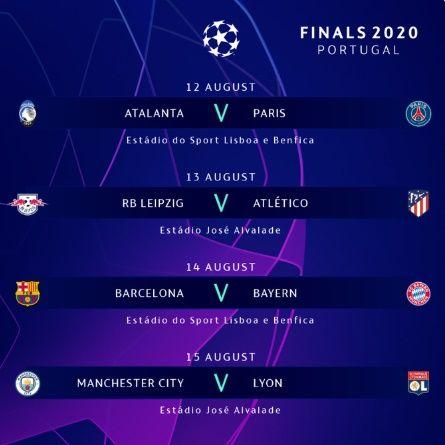 챔피언스리그 8강 대진표. ⓒ UEFA