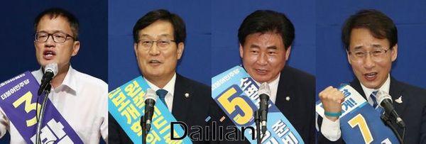 (왼쪽부터) 박주민 당 대표 후보, 신동근·소병훈·이원욱 최고위원 후보ⓒ데일리안DB
