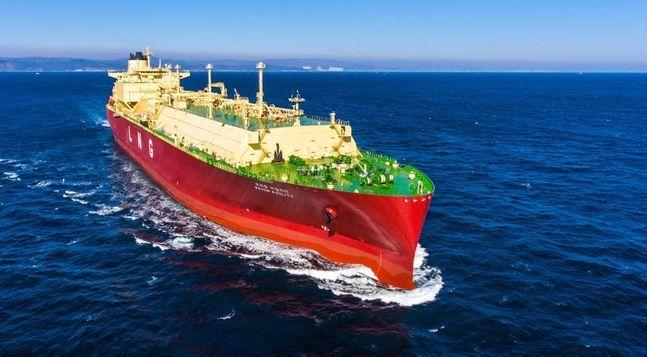 현대중공업이 건조한 LNG 운반선의 시운전 모습ⓒ현대중공업