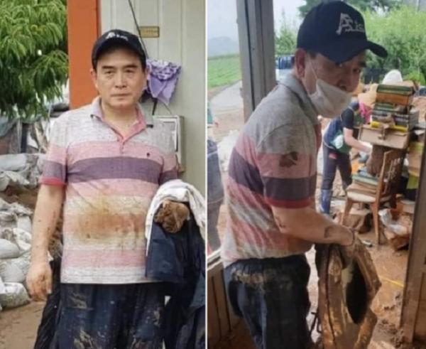 태영호 미래통합당 의원이 지난 5일 충북 충주시에서 수해복구작업을 하는 장면 ⓒ조수진 통합당 의원 페이스북 캡쳐
