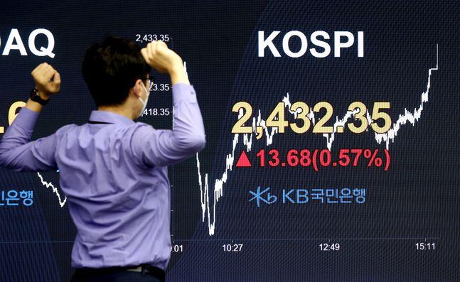 12일 코스피가 2432.35에 마감한 가운데 서울 여의도 KB국민은행 스마트딜링룸에서 직원들이 업무를 보고 있다.ⓒ뉴시스