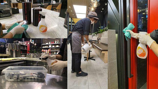 할리스커피 직원이 매장 내 테이블 등의 기구 및 설비 소독을 실시하고 있다.ⓒ할리스커피