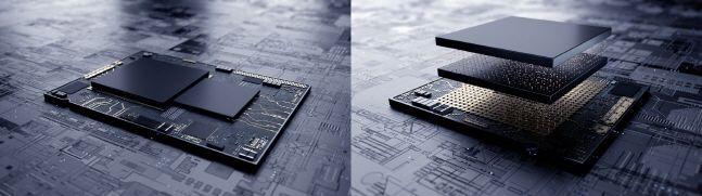 기존 시스템반도체 평면 설계(왼쪽)와 삼성전자 3차원 적층 기술