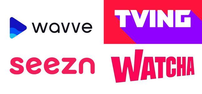 왼쪽 위부터 시계방향으로 웨이브·티빙·왓차·시즌 로고.ⓒ각사