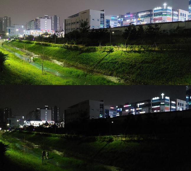 LG전자 스마트폰 'LG Q92'로 야간 촬영을 한 결과물. 위쪽 사진에만 '나이트 뷰' 기능이 적용됐다.ⓒ데일리안 김은경 기자