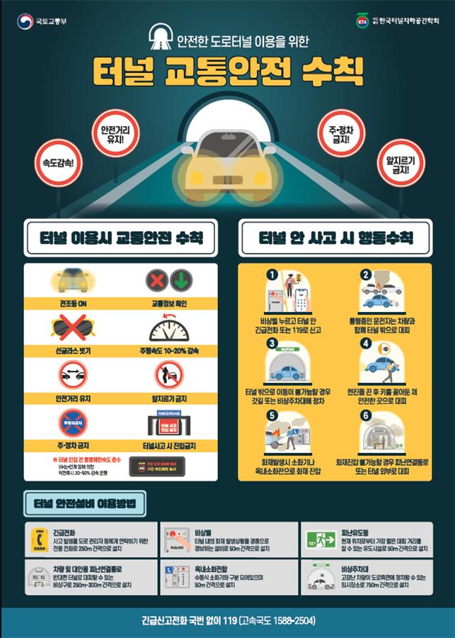 터널 교통안전 수칙.ⓒ국토교통부