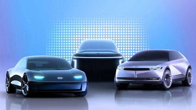 아이오닉 브랜드 제품 라인업 렌더링 이미지. 왼쪽부터 아이오닉 6, 아이오닉 7, 아이오닉 5. ⓒ현대자동차