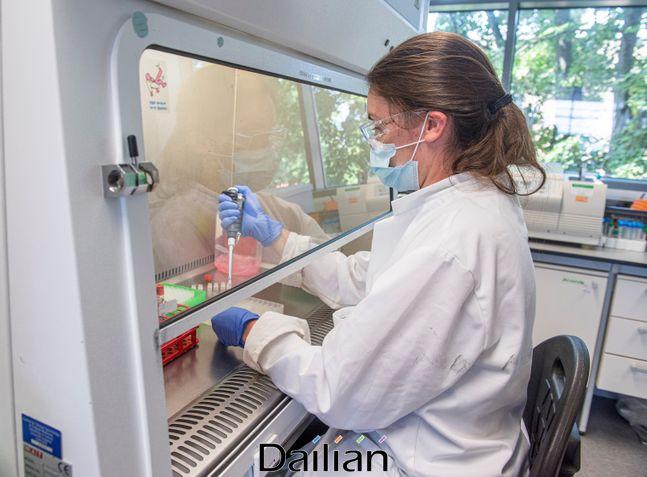 코로나19 백신 후보 물질을 다루고 있는 영국 옥스퍼드대 연구진의 모습(자료사진). ⓒAP/뉴시스