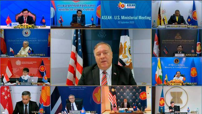 마이크 폼페이오 미국 국무장관이 지난 10일 화상으로 열린 미·아세안 외교장관회의에서 연설하고 있다. ⓒAP/뉴시스