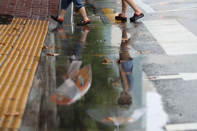서울 양천구의 한 거리에 우산을 쓴 시민들이 발걸음을 옮기고 있다.(자료사진)ⓒ데일리안 류영주 기자