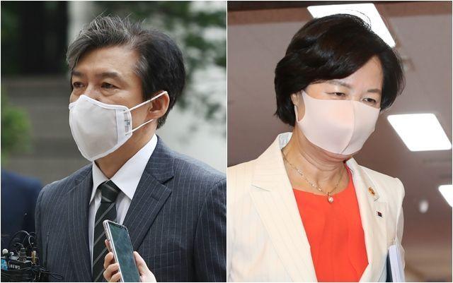 조국(왼쪽) 전 법무부 장관과 추미애 법무부 장관. ⓒ데일리안 홍금표·류영주 기자