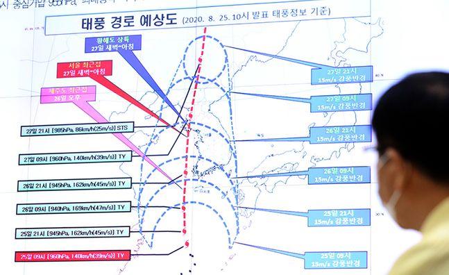 지난달 정부세종2청사 중앙재난안전상황실에서 북상 중인 태풍