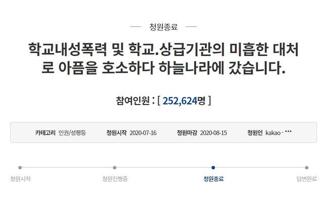 ⓒ청와대 국민청원 게시판 갈무리