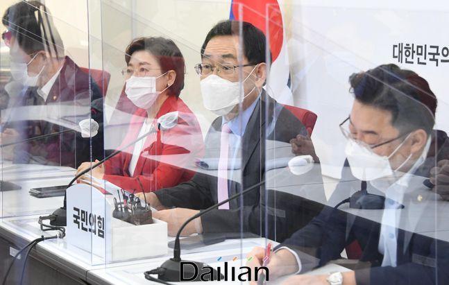 주호영 국민의힘 원내대표가 15일 서울 여의도 국회에서 열린 원내대책회의에서 발언하고 있다. ⓒ데일리안 박항구 기자