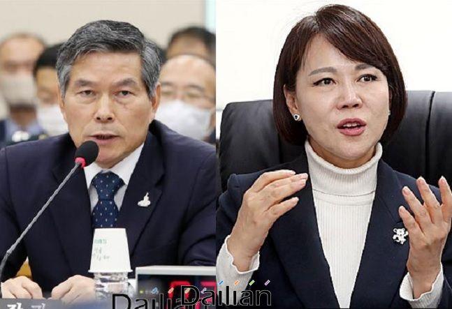 정경두 국방부장관(왼쪽)과 전현희 국민권익위원회 위원장 ⓒ데일리안