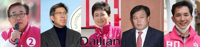 내년 4월 부산시장 보궐선거 국민의힘 후보로 거론되고 있는 (왼쪽부터) 서병수 의원, 박형준 전 미래통합당 공동선대위원장, 이언주·이진복·박민식 전 의원ⓒ데일리안DB