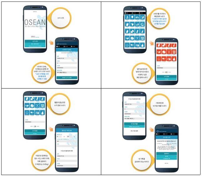 쓰레기 줍기 활동을 기록하는 '클린 스웰' 앱 이용방법 ⓒ해수부