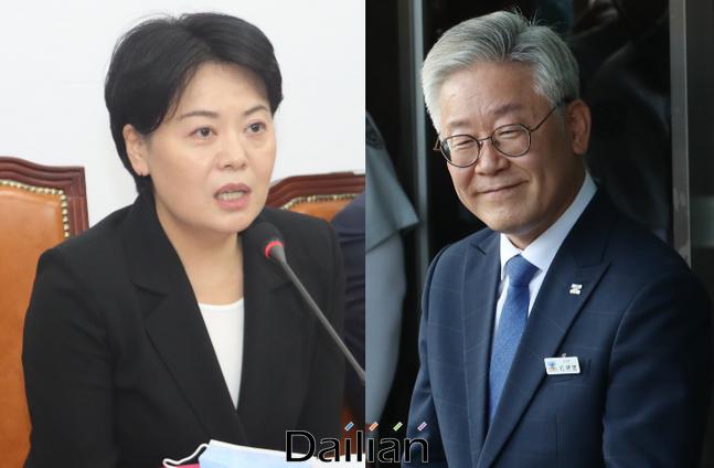 윤희숙 미래통합당 의원(왼쪽)과 이재명 경기도지사 ⓒ데일리안
