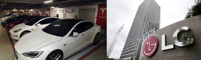 (왼쪽부터) 테슬라가 출시한 전기차 모델S와 서울 여의도 소재 LG그룹 트윈타워 전경. ⓒ연합뉴스