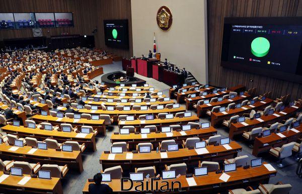 지난 7월 30일 오후 열린 국회 본회의에서 미래통합당 의원들이 집단 퇴장한 가운데 주택임대차보호법 일부개정법률안이 가결되고 있다. ⓒ데일리안 박항구 기자