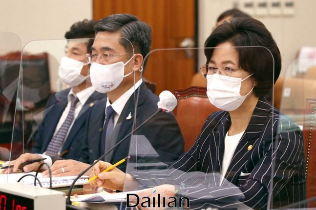 추미애 법무부 장관이 지난 21일 서울 여의도 국회에서 열린 법제사법위원회 전체회의에서 의원들의 질의에 답변하고 있다.(자료사진) ⓒ데일리안 박항구 기자