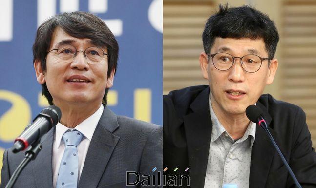 (왼쪽부터) 유시민 노무현재단 이사장과 진중권 전 동양대 교수ⓒ데일리안DB