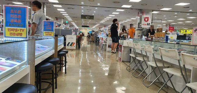 지난 7월 3일 오후 서울 신도림 테크노마트 휴대전화 집단상가의 모습.(자료사진)ⓒ데일리안 김은경 기자