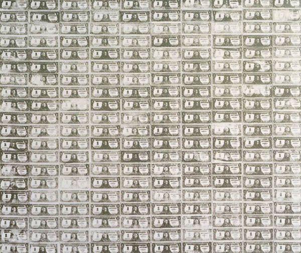 이 작품은 2009년 11월 소더비 경매에서 4380만 달러에 거래됐다. 예상가를 3배 이상 웃도는 가격으로 리먼 사태 이후 찾아온 미술계의 불황을 무색하게 만들었다ⓒ앤디 워홀, '1달러 지폐 200장', 실크스크린, 1962.