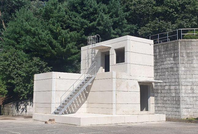 대우건설 기술연구원에 위치한 하프-프리캐스트 콘크리트(Half-PC공법)로 시공한 옥탑 구조물 실물 모형.ⓒ대우건설